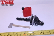 TSH Chain Saw, Gas Can, Axe Bundle - Red Chain Saw Tall Gas Can