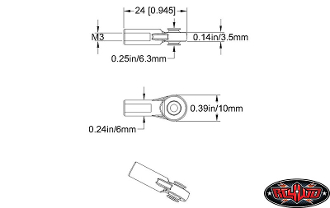 RC4WD M3 MEDIUM STRAIGHT PLASTIC ROD END (20X)