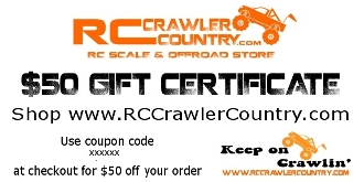 RCCrawlerCountry.com $50 Gift Certificate