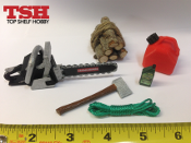 Crawlerman Logger Bundle 1:10 Scale Yellow Saw, Oil, Wood Pile