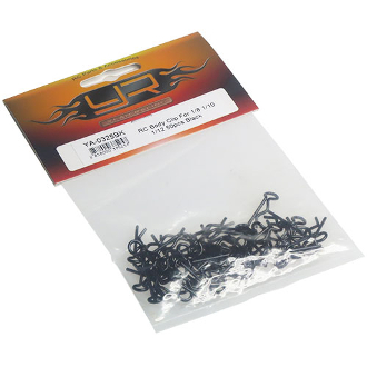 50 Body Clips for RC Vehicles Black 1/10 1/16 Scale YA-0325BK