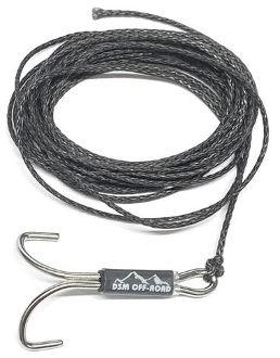 DSM 1/10 RC SYNTHETIC WINCH LINE W/ MULTI HOOK - 8' (Black)
